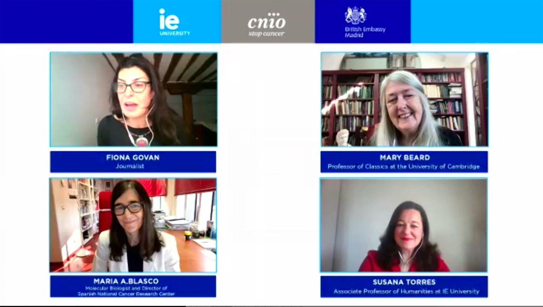 Fiona Govan, Mary Beard, Maria Blasco and Susana Torres, in a moment of